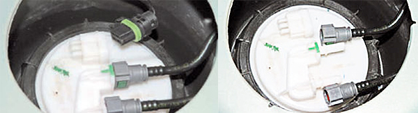 Отжав фиксатор, отсоединяем колодку жгута проводов от разъема крышки топливного модуля сжимая фиксаторы, поочередно отсоединяем от штуцеров крышки топливного модуля наконечники трубок подачи (с зеленым фиксатором) и слива топлива (с красным фиксатором).
