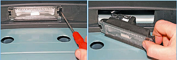 Отжимаем отверткой пластмассовый фиксатор фонаря и вынимаем фонарь из отверстия заднего бампера.