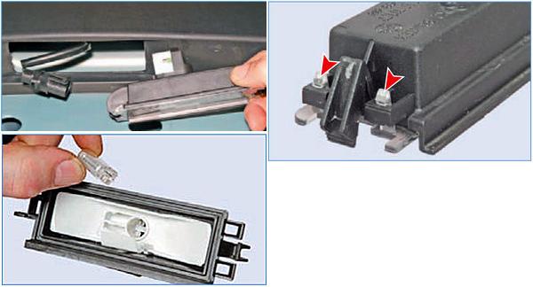 Отжав фиксатор колодки проводов отсоединяем колодку проводов от фонаря. Рукой нажимаем на фиксаторы и снимаем рассеиватель. Вынимаем лампу из фонаря.