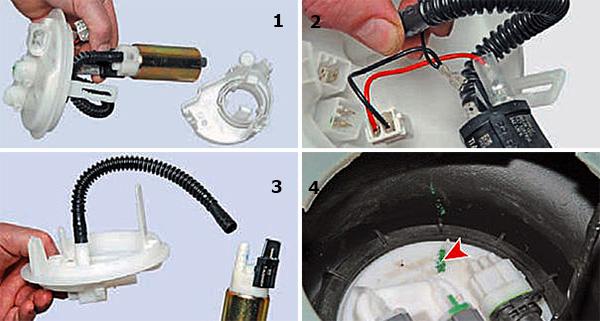 1. Вынимаем топливный насос из держателя. 2. Отсоединяем наконечники проводов от топливного насоса (черный «–», красный «+»). 3. Снимаем гофрированную трубку с патрубка насоса. 4. При установке топливного модуля в бак стрелка на крышке модуля должна располагаться напротив метки на баке, выполненной зеленой краской.