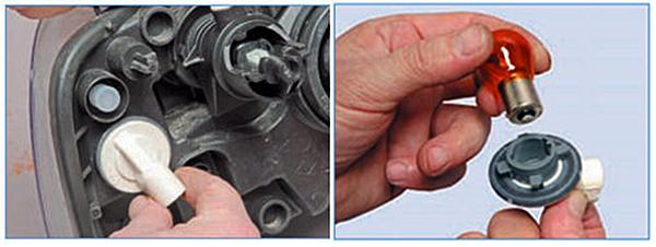 Поворачиваем патрон лампы по часовой стрелке (для правой фары - против часовой стрелки) и вынимаем из патрона.