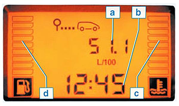 Отображение информации на дисплее: a — информация бортового компьютера; b — часы; c — указатель температуры охлаждающей жидкости двигателя. При нормальной работе двигателя четыре прямоугольника темные. Не допускайте работу двигателя в режиме перегрева; d — указатель уровня топлива в топливном баке. При полном топливном баке все прямоугольники темные.