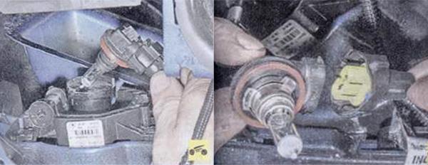 1. Поверните лампу на треть оборота против часовой стрелки и выньте ее из отражателя. 2. Отожмите фиксатор крепления колодки жгута проводов, отсоедините колодку лампы противотуманной фары и снимите лампу.