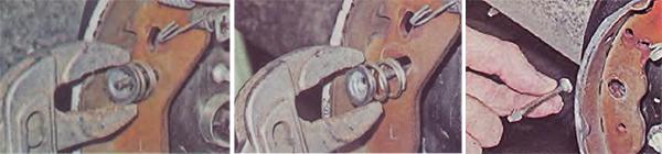 1. Придерживая опорную стойку с обратной стороны, пассатижами надавливаем на чашку, поворачиваем на 90'. 2. Снимаем чашку и пружину опорной стойки. 3. Извлекаем опорную стойку.