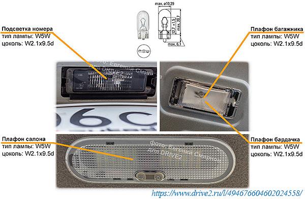 Лампы подсветки номера, салона и багажника Рено Логан 2