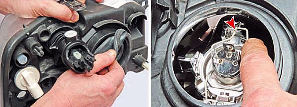 Снимаем резиновый уплотнительный чехол (для наглядности показано на снятой блок-фаре). Выводим его из зацепления с крючком отражателя.