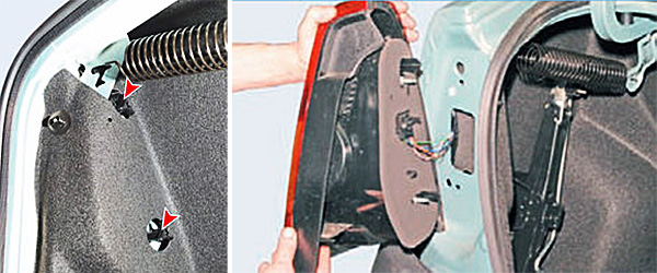 Отворачиваем внутри багажника две пластмассовые гайки крепления заднего фонаря. Отводим фонарь, не отсоединяя от него колодку проводов.