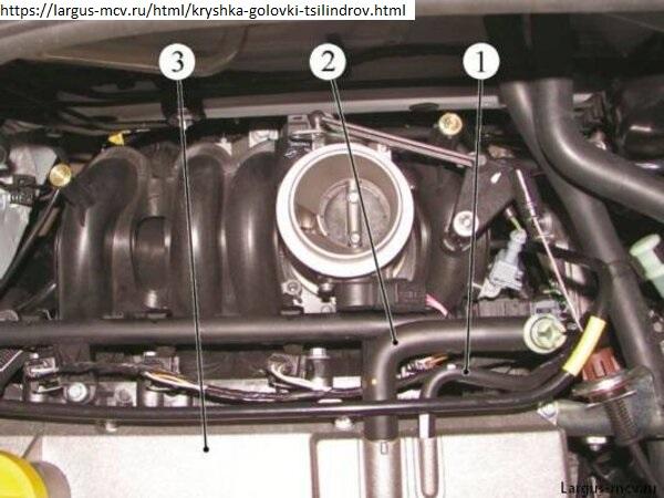 Отсоединение шланга вентиляции картера