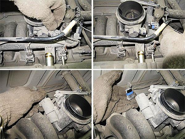 Снимаем трубки с клапанной крышки, извлекаем тросик газа.