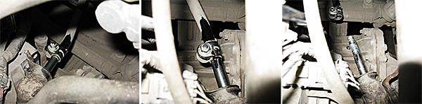 Помечаем взаимное расположение тяги и рычага управления КПП. Ослабляем болт хомута тяги и сдергиваем тягу с рычага.