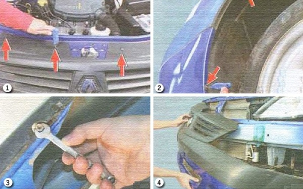 Снимаем передний бампер на Renault Logan 1