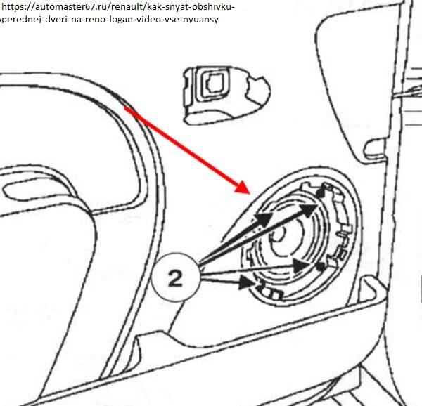 Демонтируем карт водительской двери Logan 1