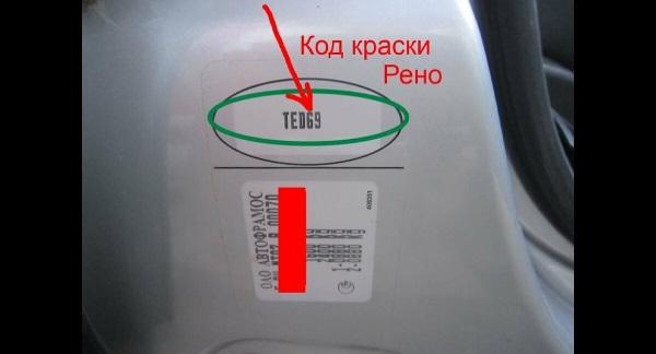 Код краски Renault Duster