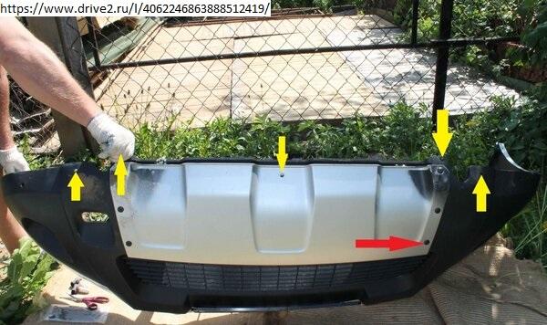 Демонтаж переднего бампера Duster